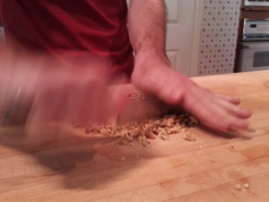 Me using an randomized algorithm to chop nuts.