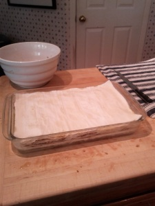 The completed layering of the dough.