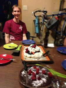 Birthday boy pavlova + flourless chocolate cake!