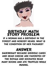 I would love to get this etsy card!  http://www.etsy.com/listing/103897158/note-card-math-story-problem-woman