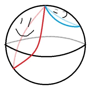 The blue and red circles both wrap around the sphere.