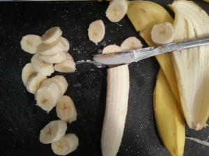 The three phases of a dead banana's life: whole, peeled, sliced.  Not so appeeling, is it?