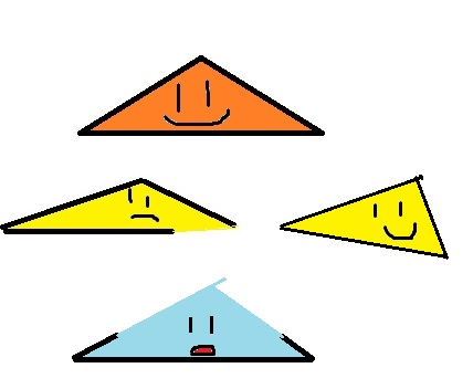 The orange one is fine.  The yellow guy on the left isn't quite a triangle, but his sides are long enough that we can swing around and make a triangle.  But poor blue- there's no way to use those little stumps to close up into a triangle.