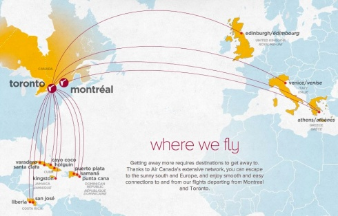 Flight map for Air Canada