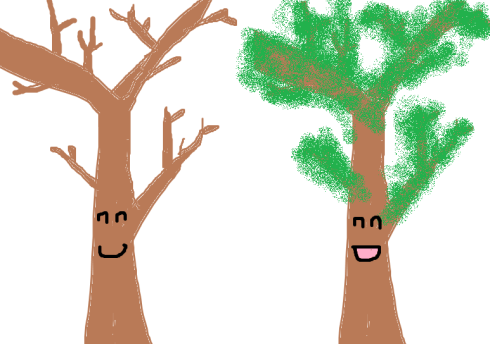 These trees are the same up to quasi-isometry: the leaves are within a bounded distance of the original tree