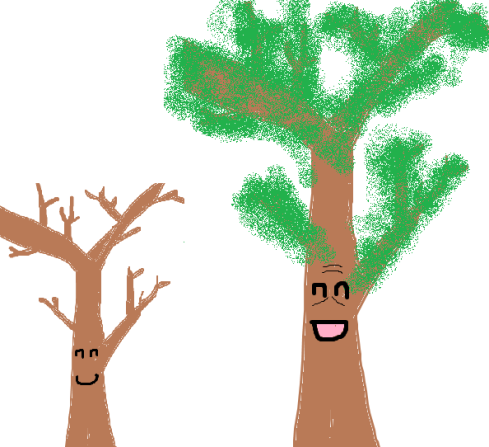 The large tree is the same as the small tree up to scaling (multiplication) and adding some constants (the leaves).  This is an example of a quasi-isomeTREE