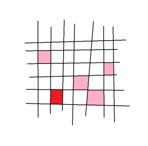 This action is also cocompact. Here I have the plane, conveniently cut up with an integer lattice. Can you figure out what the action is? Hint: the red square is a unit square, and the pink squares are suppose to be various translates of it.
